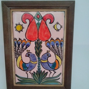 Pávás életfás tűzzománc kép, Otthon & Lakás, Dekoráció, Kép & Falikép, Festő zománc technikával készült kedves kis kép. Méretei kerettel : 12 cm x 17 cm Képeket : 8 cm x 1..., Meska