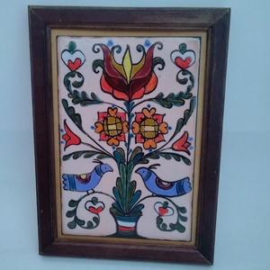 Galambos  életfás zománc kép, Otthon & Lakás, Dekoráció, Kép & Falikép, Festő zománc technikával készült kedves kis kép. Méretei kerettel : 12 cm x 17 cm Képeket : 8 cm x 1..., Meska
