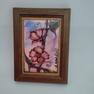 Kis virág tűzzománc kép, Otthon & Lakás, Dekoráció, Kép & Falikép, Egy csokor virág helyett!  Ajándék!  Festő zománc technikával készült kedves kis kép! Mérete: 9 cm x..., Meska