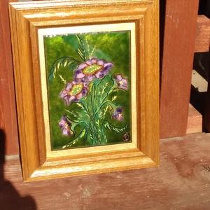 """Tűzzománc kép """" lila virágok """", Művészet, Festmény, Festmény vegyes technika,  Festő zománc technikával készült kép.  Ideális ajándék hölgyeknek l Teljes mérete: 19 cm x 22 cm  K..., Meska"""