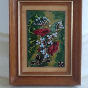 """Tűzzománc kép """"  virágok """", Otthon & Lakás, Dekoráció, Kép & Falikép, Vegyes zománc technikával készült virágos kép A kép teljes mérete: 14,5 cm x 19 cm Képlemez:8 cm x 1..., Meska"""