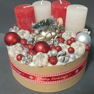 Adventi box, Otthon & Lakás, Karácsony & Mikulás, Adventi koszorú, Virágkötés, Átmérője 17cm, magassága 11cm., Meska