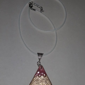 Háromszög alakú pink,bronz  medálos nyaklánc, Ékszer, Ékszerszett, Háromszüg alakú pink,bronz  medálos nyaklánc.  Postázása egyedi megbeszélés alapján. , Meska