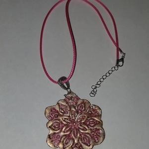 Pink, bronz  nagy méretű medálos nyaklánc, Ékszer, Ékszerszett, Pink,bronz   nagy méretű  medálosos nyaklánc.  Postázása egyedi megbeszélés alapján. , Meska