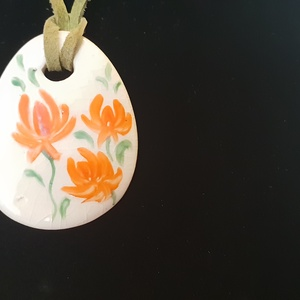 narancs virág kerámia ékszer (balazsmaria) - Meska.hu