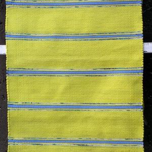 Sárga rogyszőnyeg, Szőnyeg, Lakástextil, Otthon & Lakás, Szövés, Takács szövőszéken készítettem ezt a rongyszőnyeget.\nErős sárga színű szőnyeg, világoskék csíkokkal...., Meska