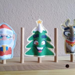 Karácsonyi ujjbábkészlet - Télapó/Mikulás, fenyőfa, rénszarvas (banikomuhelye) - Meska.hu