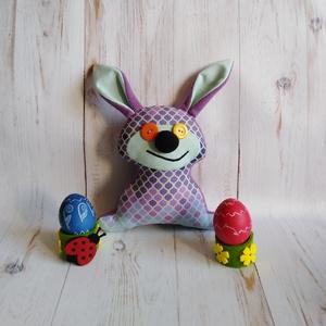 Lila-menta színű plüssnyuszi alvótársnak, ajándékba vagy akár gyereknapra, Gyerek & játék, Játék, Játékfigura, Plüssállat, rongyjáték, Baba-és bábkészítés, Varrás, Nyuszi rajongóknak ajánlom ezt a saját tervek alapján készült trendi lila-menta pamutvászonból készü..., Meska