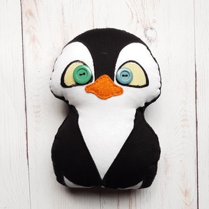 Pingvin plüssfigura, Gyerek & játék, Játék, Baba játék, Játékfigura, Plüssállat, rongyjáték, Baba-és bábkészítés, Varrás, Ugyan a pingvin a jegesmacival ellentétben a Déli-sarkvidéken él,  nálam mégis mindkettő megtalálhat..., Meska