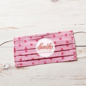 Pink rózsaszín csillagos női textil szájmaszk zsebbel, orrmerevítővel, Maszk, Arcmaszk, Női, Egyedi, többször használatos, stílusos női szájmaszk készletről! Vidám, színes szájmaszkjaim 100% pa..., Meska