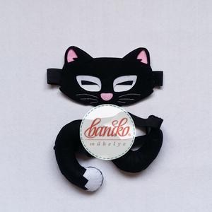 Fekete macska, cica álarc és farok lányoknak farsangi, halloweeni jelmezhez - KÉSZLETEN, Ruha & Divat, Jelmez & Álarc, Álarc, Farsangra, halloweenre ajánlom ezt az iparművész férjem által tervezett macska (cica) álarcot és a h..., Meska