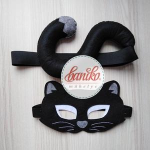 Fekete macska, cica álarc és farok fiúknak (kandúr) farsangi, halloweeni jelmezhez - KÉSZLETEN, Ruha & Divat, Jelmez & Álarc, Álarc, Farsangra, halloweenre ajánlom ezt az iparművész férjem által tervezett macska (cica)/kandúr álarcot..., Meska