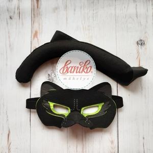 Fekete párduc álarc és farok farsangra vagy szerepjátékhoz - KÉSZLETEN, Ruha & Divat, Jelmez & Álarc, Egyedi tervezésű fekete párduc álarc, amit otthoni ruhákkal (fekete felsővel, leggingsszel) kiegészí..., Meska