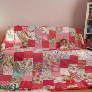 piros vintage patchwork takaró, Otthon & Lakás, Lakástextil, Ágytakaró, Ez a takaró megrendelésre készült. Ha elnyerte tetszésedet ,szívesen készítek hasonlót,vagy izlésedn..., Meska