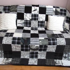 fekete-fehér patchwork takaró (Banyamanufaktura) - Meska.hu