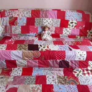 piros óriás patchwork takaró, Otthon & Lakás, Lakástextil, Ágytakaró, Ez a takaró megrendelésre készült, de szivesen elkénszítem a neked tetsző vagy hasonló takarót. Mére..., Meska