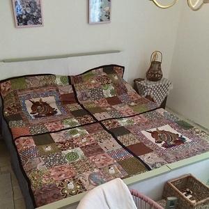 Unikornisos-macskás patchwork takaró megrendelésre, Otthon & Lakás, Lakástextil, Ágytakaró, Ez a takaró megrendelésre készült. Ha tetszik és szeretnél hasonlót,írd meg ,megbeszéljük és elkészí..., Meska