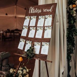 Esküvői ültetési rend tábla, Esküvő, Dekoráció, Tábla & Jelzés, Mindenmás, 50x70 cm-es , fa esküvői ültetési rend tábla. Kérhető álló vagy fekvő formában is. Ültetési rend fel..., Meska