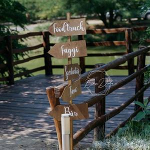 Esküvői irányító tábla, Esküvő, Dekoráció, Tábla & Jelzés, Mindenmás, 15x40 cm-es , fa esküvői irányító tábla. Kérhető nyíl formában, balra vagy jobbra irányban is. Bármi..., Meska