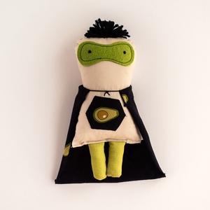 Avokádó Man, szuperhős baba avokádó mintával, Ember, Plüssállat & Játékfigura, Játék & Gyerek, Baba-és bábkészítés, Mérete: kb. 25 cm\n, Meska