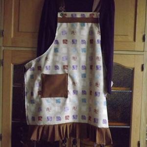 Női konyhakötény...sütéskor is csak  vidáman !, Konyhafelszerelés, Otthon & lakás, Kötény, Táska, Divat & Szépség, Varrás, Élénk és a sötétebb színek hangulata, és fodros fazon örök divat...\nLegyünk divatosak a konyhánkban ..., Meska