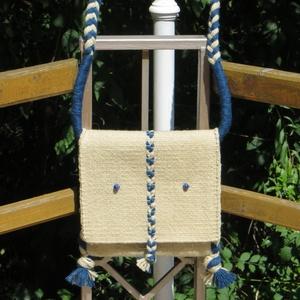 \'ÉGFESTŐ\' gyapjú táska / tarisznya, Válltáska, Kézitáska & válltáska, Táska & Tok, Szövés, Varrás, Egyedi tervezésű, kékfestő stílusban szőtt gyapjú táska, biztonságos lehajtós fazonban: fehér alapon..., Meska