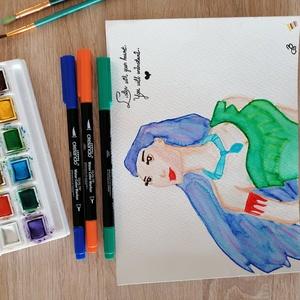 Pocahontas akvarell festmény, Művészet, Festmény, Akvarell, Festett tárgyak, Egy újabb és saját színelképzeléssel megfestett Pocahontas akvarell idézettel.\n300 g-os akvarell pap..., Meska