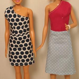 Barbie ruhakészítő csomag letölthető egypántos ruha , DIY (leírások), Szabásminta, útmutató, A képen látható barbie ruhát tudod elkészíteni a letölthető pdf szabásminta és varrási segédlet alap..., Meska