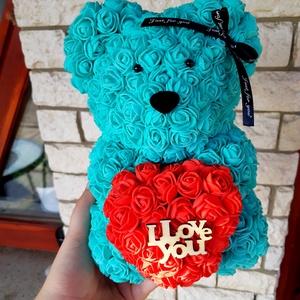 Szeretlek türkiz kék rózsa maci, Csokor & Virágdísz, Dekoráció, Otthon & Lakás, Mindenmás, Egyedi Rózsa maci.\nÖrök élet.\nIdeális ajándék gyerekeknek, babáknak, pároknak is névnapra, szülinapr..., Meska