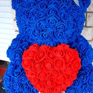35 cm türkizkék rózsamaci, Csokor & Virágdísz, Dekoráció, Otthon & Lakás, Mindenmás, Egyedi Rózsa maci.\nÖrök élet.\nIdeális ajándék gyerekeknek, babáknak, pároknak is névnapra, szülinapr..., Meska