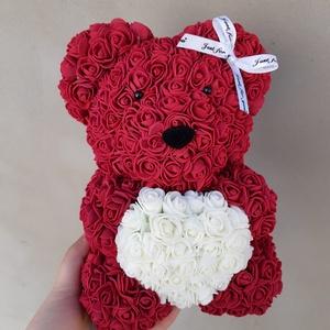 25cm bordó rózsa maci , Otthon & Lakás, Dekoráció, Csokor & Virágdísz, Mindenmás, \nEgyedi Rózsa maci.\nÖrök élet.\nIdeális ajándék gyerekeknek, babáknak, pároknak is névnapra, szülinap..., Meska