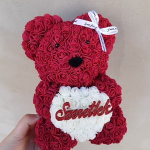 Szeretlek bordó rózsa maci , Otthon & Lakás, Dekoráció, Csokor & Virágdísz, Mindenmás, \nEgyedi Rózsa maci.\nÖrök élet.\nIdeális ajándék gyerekeknek, babáknak, pároknak is névnapra, szülinap..., Meska