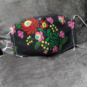 Virágos női maszk , Maszk, Arcmaszk, Varrás, Kétrétegű, archoz igazodó, felnőtt méretű, állítható textil maszk, Meska
