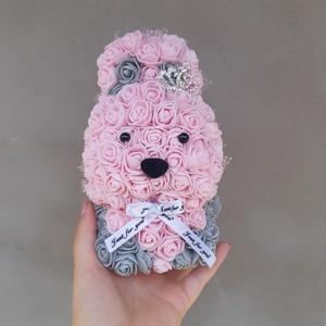 Rózsaszín szürke rózsa nyuszi, Otthon & Lakás, Csokor & Virágdísz, Dekoráció, Kérheted ajándékként csomagolva is, 2 dobozban küldve a maci! (2.kép) Ebben az esetben az opcióknál ..., Meska