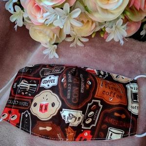 Kávés textil maszk, Maszk, Arcmaszk, Varrás, Felnőtt méretű 2 rétegű textil maszk.\nSaját felelősségre sima elsőbbségi levélként is kérhető...., Meska