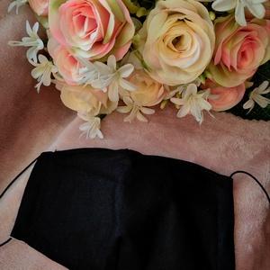 Fekete uniszex textil maszk, Maszk, Arcmaszk, Varrás, Archoz igazodó két rétegű textil maszk.\nFelnőtt méretű.\nVevő felelősségére sima elsőbbségi levélként..., Meska