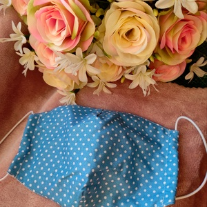 Kék pöttyös textil maszk, Maszk, Arcmaszk, Varrás, Felnőtt méretű 2 rétegű textil maszk.\nSaját felelősségre sima elsőbbségi levélként is kérhető...., Meska