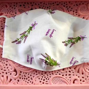 Levendulás textil maszk, Maszk, Arcmaszk, Varrás, Felnőtt textil maszk.\nÁllítható archoz igazodó két rétegű.\nSaját felelősségre sima elsőbbségi levélk..., Meska