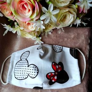 Minnie textil maszk, Maszk, Arcmaszk, Varrás, Felnőtt méretű archoz igazodó két rétegű textil maszk.\nVevő felelősségére sima elsőbbségi levélként ..., Meska