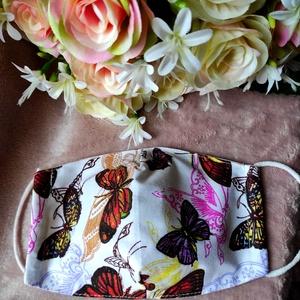 Tavaszi pillangós textil maszk, Maszk, Arcmaszk, Varrás, Felnőtt méretű archoz igazodó két rétegű textil maszk.\nVevő felelősségére sima elsőbbségi levélként ..., Meska