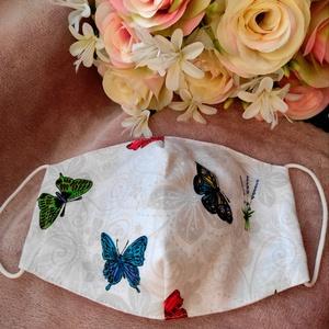 Pillangós textil maszk, Maszk, Arcmaszk, Varrás, Felnőtt méretű két rétegű archoz igazodó textil maszk.\nSaját felelősségre sima elsőbbségi levélként ..., Meska
