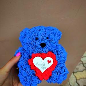 Sötétkék rózsa maci piros szívvel anyák napi, Otthon & Lakás, Dekoráció, Csokor & Virágdísz, Mindenmás, Ha valami különlegeset keresel..\nTökéletes anyák napi ajándék\nEgyedi Rózsa maci\nÖrök élet.\nIdeális a..., Meska