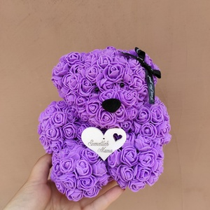Szeretlek mama, anya lila rózsa maci, Otthon & Lakás, Dekoráció, Csokor & Virágdísz, Mindenmás, Ha valami különlegeset keresel..\nTökéletes anyák napi ajándék\nEgyedi Rózsa maci\nÖrök élet.\nIdeális a..., Meska
