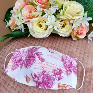 Vintage rózsás textil maszk, Maszk, Arcmaszk, Varrás, Felnőtt méretű 2 rétegű textil maszk.\nSaját felelősségre sima elsőbbségi levélként is kérhető.\n\n\n..., Meska