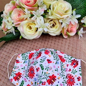 Fehér matyó mintás textil maszk, Maszk, Arcmaszk, Varrás, Felnőtt méretű 2 rétegű textil maszk.\nSaját felelősségre sima elsőbbségi levélként is kérhető.\n\n\n..., Meska