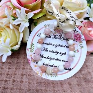 Ballagási köszönő ajándék- rózsaszín karkötő, Ékszer, Karkötő, Egyedi ballagási ajándék jótékony hatással Kérhető óvónéni, tanár néni, tanító néni kártyával is! Ás..., Meska