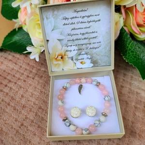 Szülőkösztöntő ajándék ásvány karkötő szeretet angyalszárny, Esküvő, Emlék & Ajándék, Szülőköszöntő ajándék, A kísérő kártyára bármilyen felirat kérhető! Megjegyzésben kellene feltüntetni! Az ár a karkötőre vo..., Meska