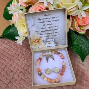 Szülőkösztöntő ajándék ásvány karkötő + fülbevaló angyalszárny, Esküvő, Emlék & Ajándék, Szülőköszöntő ajándék, A kísérő kártyára bármilyen felirat kérhető! Megjegyzésben kellene feltüntetni! Az ár a karkötőre vo..., Meska