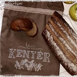 Frissen tartó, kétrétegű kenyereszsák, keresztszemes hímzéssel (barbijoe) - Meska.hu