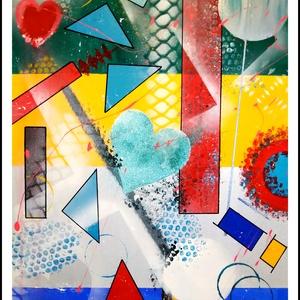 Színes absztrakt geometrikus akrilfestmény, Művészet, Festmény, Festmény vegyes technika, Festészet, 50 cm x 70 cm akrilfestmény geometriai alakzatokkal, csillámporral, szivecskével, vidámsággal, Meska